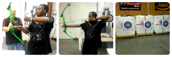 "Clyde showing Ricky how to aim... his target is in the middle... Not exactly a ""bullseye"", lol!"
